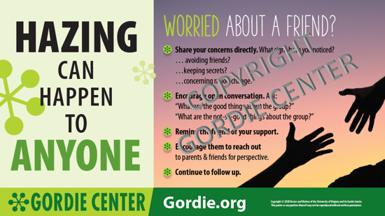 Hazing - Worried about a Friend? Poster